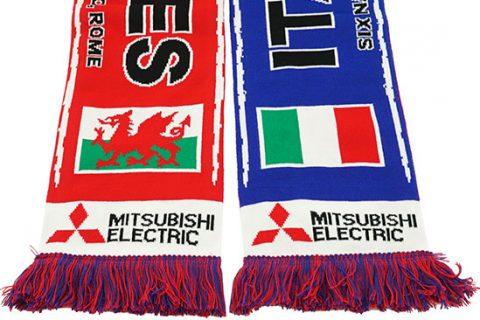 custom HD rugby scarf detail