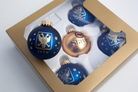 Custom printed Christmas baubles in box