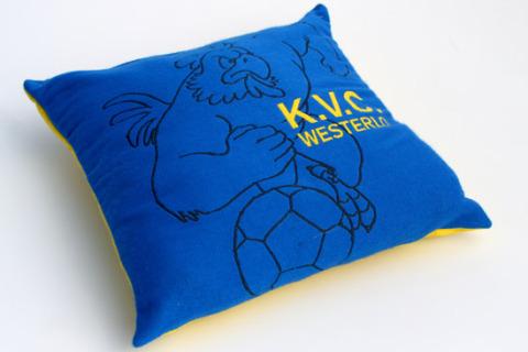 Custom woven pillow blue