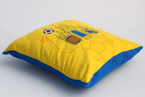 Custom woven pillow yellow blue