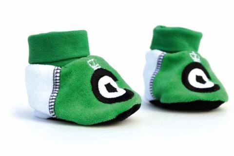 Custom baby booties green