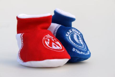 Custom baby booties red blue