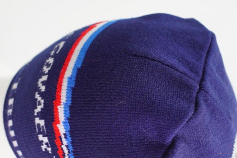 Custom beanie hat detail from top