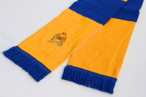 Football bar scarf yellow and blue