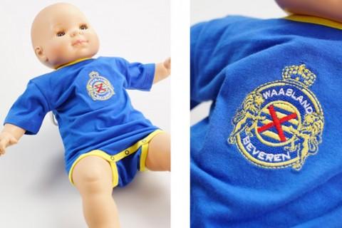 Custom embroidered baby bodysuit blue