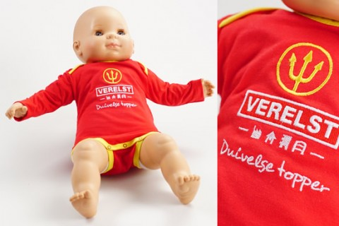 Custom baby romper bodysuit red
