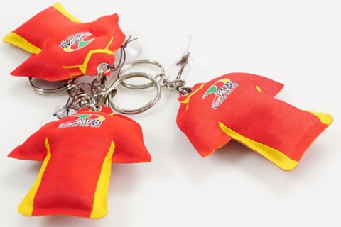 Custom woven keychains in shape of football shirts